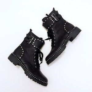 Sam Edelman Studded Leather Combat Moto Boots